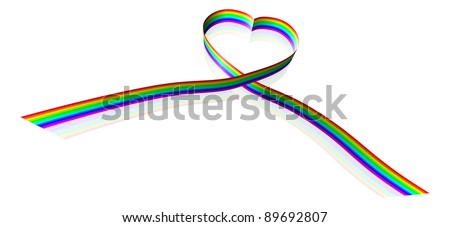 Illustration of a rainbow colored ribbon forming a heart shape.