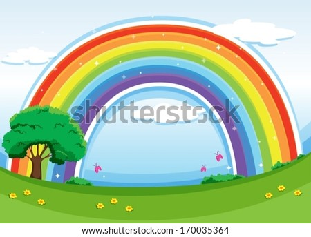 Illustration of a rainbow in the sky - stock vector