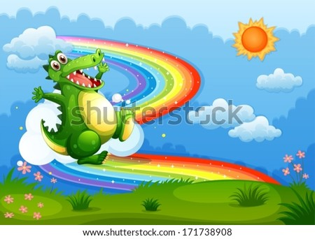Illustration of a rainbow in the sky with a green crocodile - stock vector