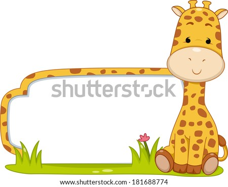 Illustration of a Ready to Print Label Featuring a Cute Giraffe Sitting Beside a Patch of Grass - stock vector