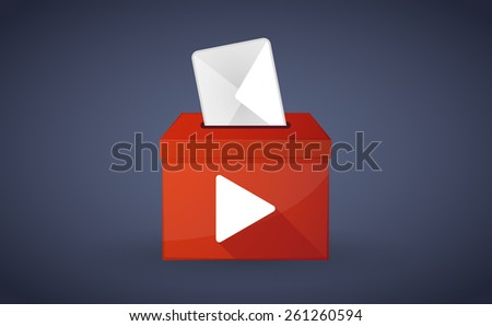 Illustration of a red ballot box with a play sign - stock vector