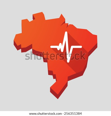 Illustration of a red Brazil map with a heart beat sign - stock vector