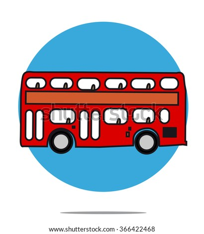 Illustration of a red bus with blue circle background - stock vector