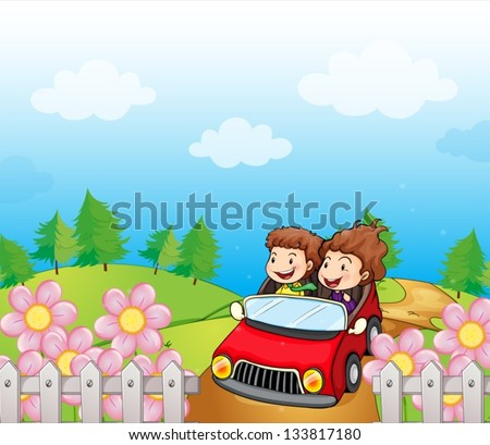 Illustration of a red car with a young girl and boy