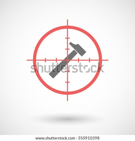 Illustration of a red crosshair icon targeting a hammer