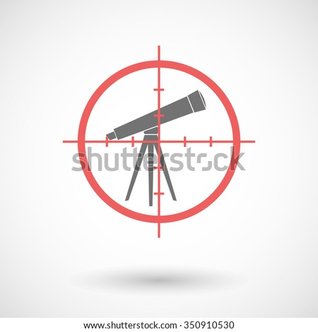 Illustration of a red crosshair icon targeting a telescope - stock vector