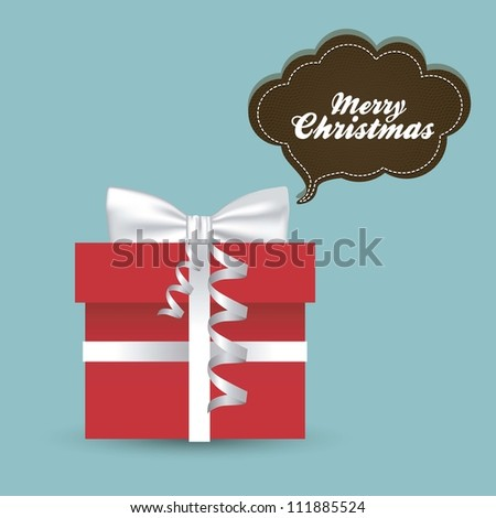 illustration of a red gift box with white ribbon isolated on blue background with text balloon, vector illustration - stock vector