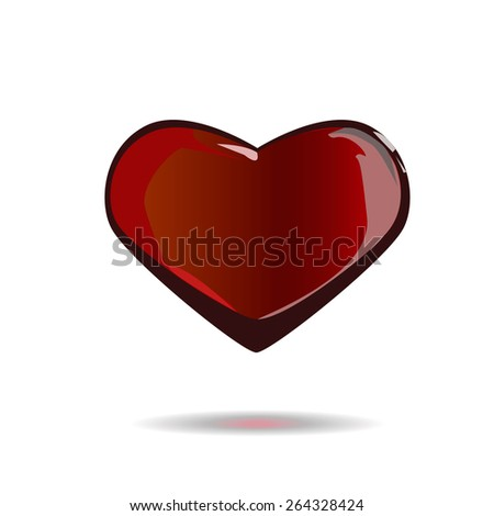 Illustration of a red glass heart isolated on white. - stock vector