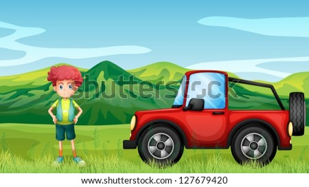 Illustration of a red jeepney and a boy in the hills - stock vector