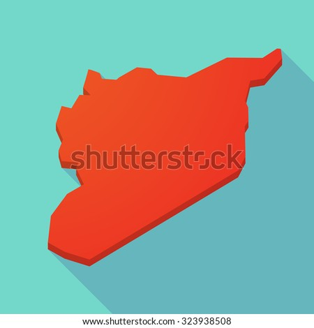 Illustration of a red long shadow Syria map  - stock vector