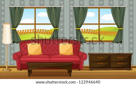 Illustration of a red sofa and side table in a room - stock vector