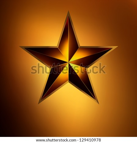 illustration of a Red star on gold background. EPS 8 vector file included - stock vector