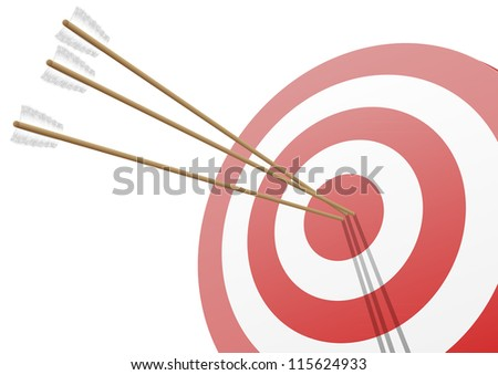illustration of a red target with three arrows hitting the center