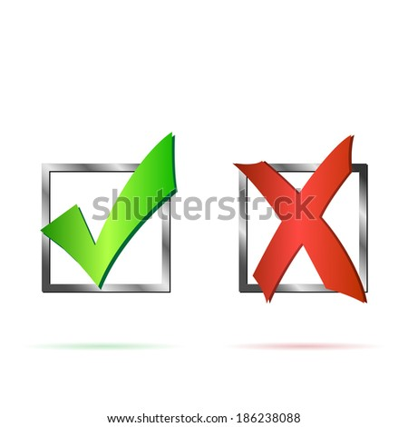 Illustration of a red X and green check mark isolated on a white background. - stock vector