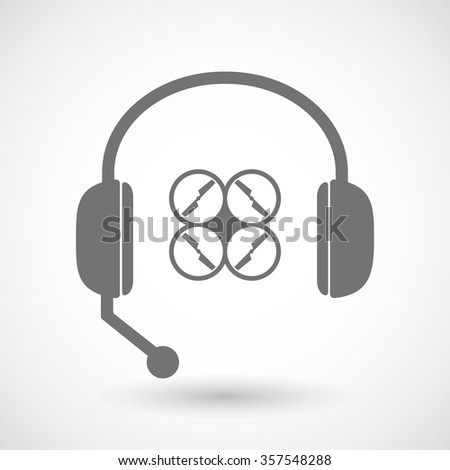 Illustration of a remote assistance headset icon with  a drone - stock vector
