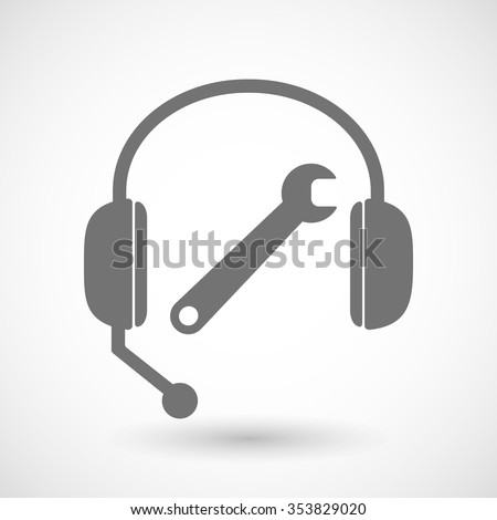 Illustration of a remote assistance headset icon with a spanner - stock vector