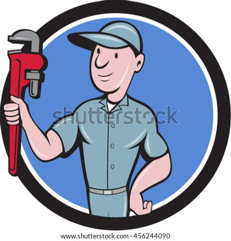 Illustration of a repairman handyman worker wearing hat carrying holding monkey wrench looking to the side viewed from front set inside circle done in cartoon style.  - stock vector
