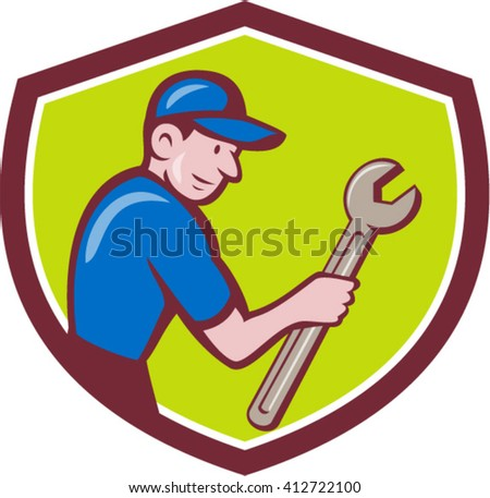 Illustration of a repairman handyman worker wearing hat carrying spanner wrench looking to the side set inside shield crest done in cartoon style.  - stock vector