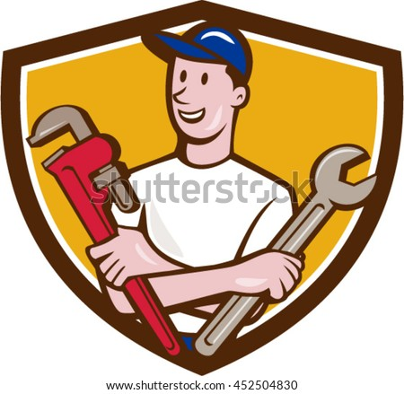 Illustration of a repairman handyman worker wearing hat holding spanner and monkey wrench looking to the side viewed from front set inside shield crest done in cartoon style.  - stock vector
