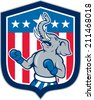 Illustration of a republican elephant boxer mascot of the republican party with stars and stripes in the background set inside shield crest done in cartoon style.  - stock photo