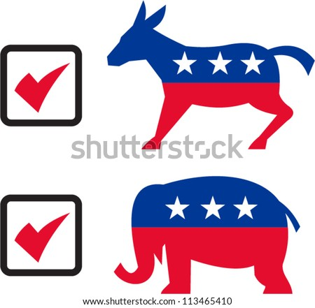 Illustration of a republican elephant mascot boxer boxing with gloves set inside shield done in retro style. - stock vector