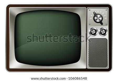 Illustration of a retro style old fashioned television - stock vector