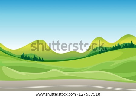 Illustration of a road and a beautiful landscape - stock vector