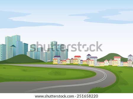 Illustration of a road to the city - stock vector