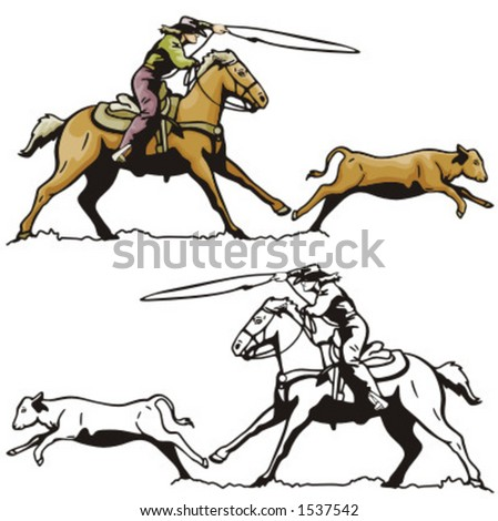 Illustration of a rodeo calf roping. - stock vector