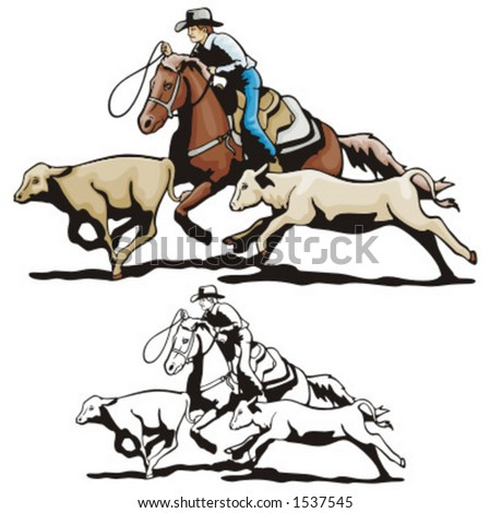 Illustration of a rodeo calf roping - stock vector