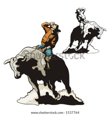 Illustration of a rodeo cowbow riding a bull.