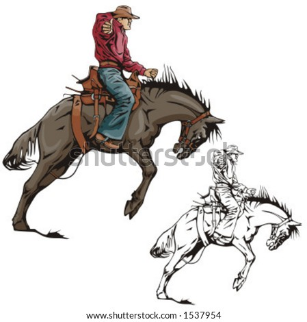 Illustration of a rodeo cowboy riding a saddled horse. - stock vector