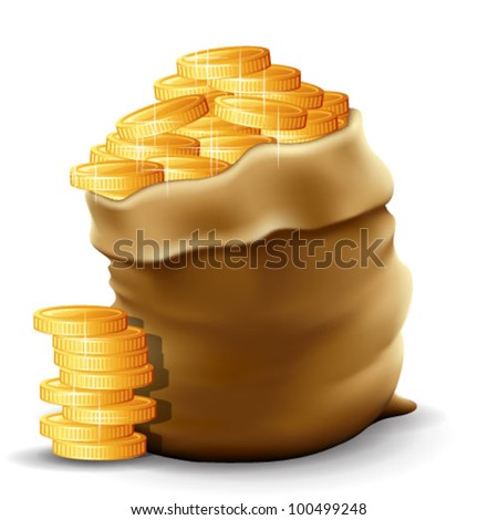 Illustration of a sack with full gold coins in it. Contain  transparencies & gradient meshes. Transparent shadows placed on layer beneath. - stock vector