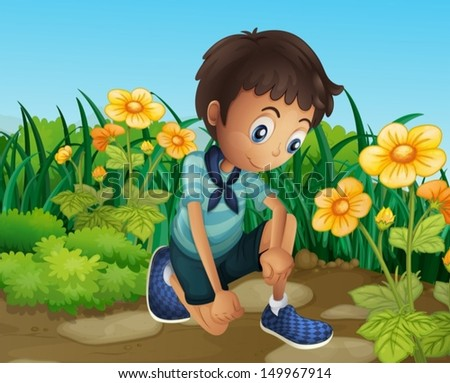 Illustration of a sad boy near the blooming flowers - stock vector