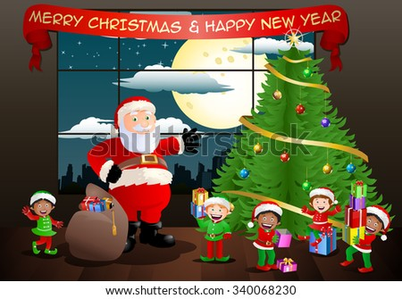 illustration of a santa claus and his elf seems happy after put gifts on christmas background