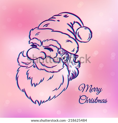 illustration of a Santa Claus on pink background