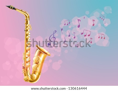 Illustration of a saxophone with musical notes - stock vector
