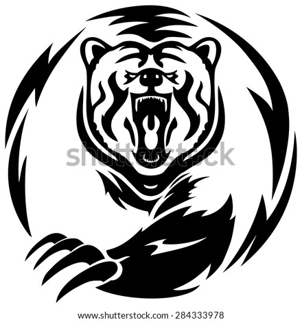 illustration of a scary bear roaring on isolated white background - stock vector