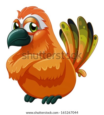 Illustration of a scary-looking bird on a white background - stock vector