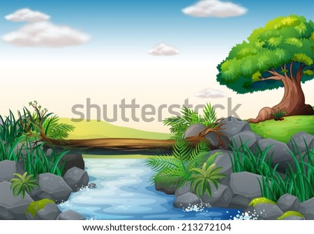 Illustration of a scene of a stream - stock vector