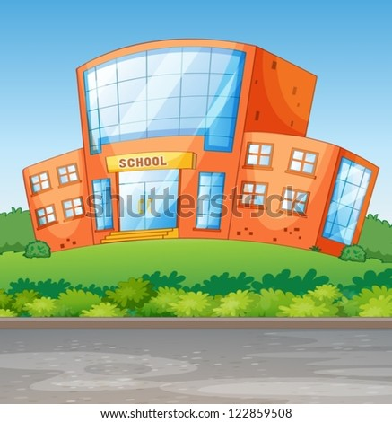 Illustration of a school building in a beautiful nature - stock vector