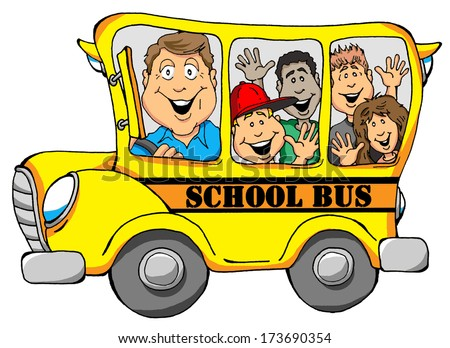 Illustration of a School Bus with Kids