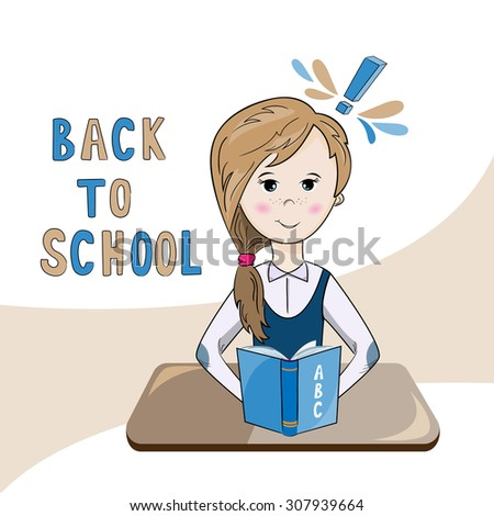 illustration of a school girl reading a textbook - stock vector
