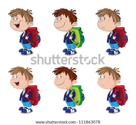 illustration of a schoolboy funny set - stock vector
