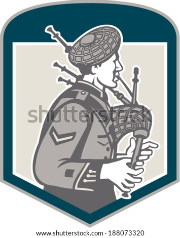 Illustration of a scotsman bagpiper playing bagpipes viewed from side set inside shield crest on isolated background done in retro woodcut style. - stock vector