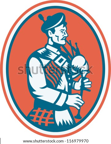 Illustration of a scotsman scottish playing the bagpipes viewed from side set inside oval done in retro style. - stock vector