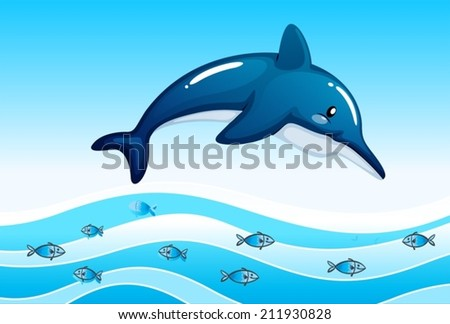 Illustration of a sea with a big dolphin and a school of small fishes