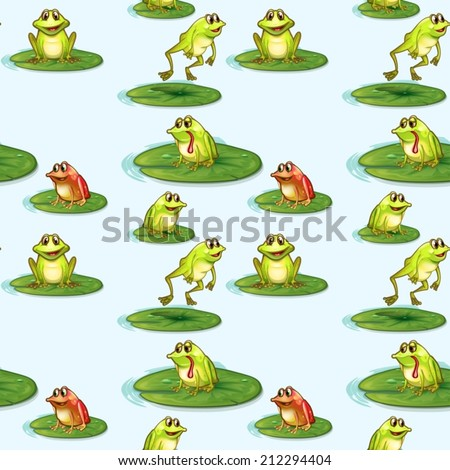 Illustration of a seamless design of the frogs at the pond - stock vector