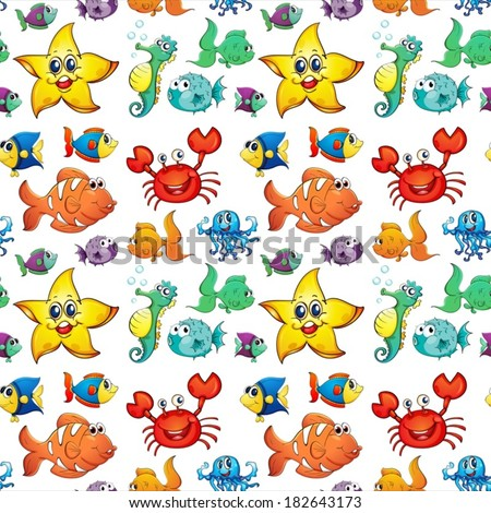 Illustration of a seamless design with sea creatures on a white background