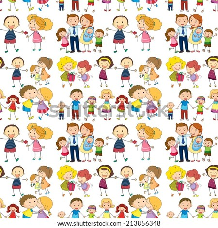 Illustration of a seamless family - stock vector